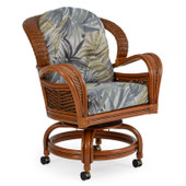 3560 Rattan Swivel Tilt Caster Dining Chair