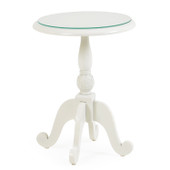 "8918 18"" Round Side Table with Glass Top Ivory"
