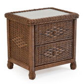 3702 Wicker 2 Drawer Nightstand Coffee Bean