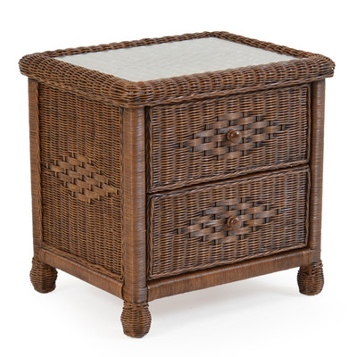 Wicker 2 Drawer Nightstand Coffee Bean 3702 - Palm Springs ...