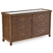 3706 Wicker 6 Drawer Dresser Antique Java
