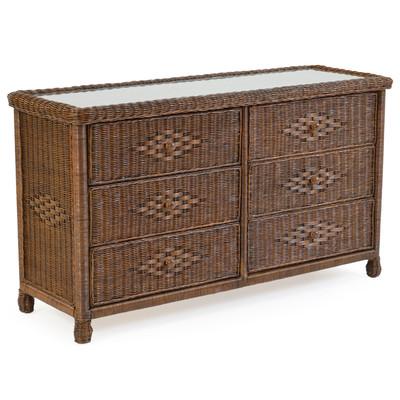 3706 Wicker 6 Drawer Dresser Antique Java