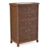 3705 Wicker 5 Drawer Chest Coffee Bean