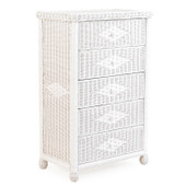 3705 Wicker 5 Drawer Chest White