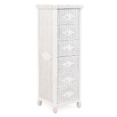 3706 Wicker 6 Drawer Lingerie Chest White