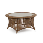 6729 Outdoor Wicker Cocktail Table in Driftwood Finish.