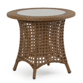 6720 Outdoor Wicker End Table in Driftwood Finish.