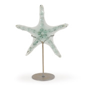 Islandway Large Recycled Glass Starfish on Metal Stand
