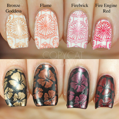 Swatches courtesy of Copycat Claws | GIRLY BITS COSMETICS Fire Engine Red Stamping Polish