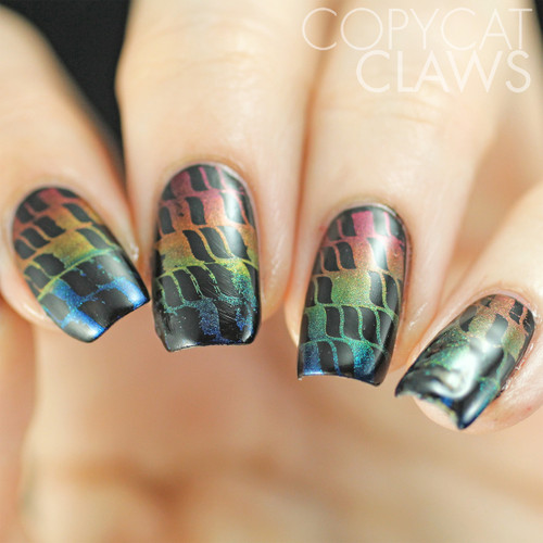 Swatch courtesy of Copycat Claws | GIRLY BITS COSMETICS Firebrick Stamping Polish