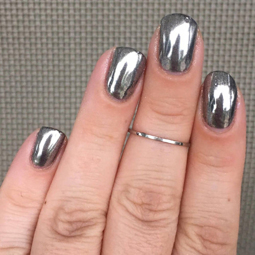 Girly Bits Cosmetics Silver Mirror Chrome effect powder | Swatch by Nail Experiments