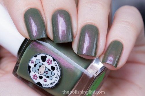 AVAILABLE AT GIRLY BITS COSMETICS www.girlybitscosmetics.com Exotic Foliage (Moo Moo's Story Part III) by Moo Moo Signatures | Swatch courtesy of The Polishing Life