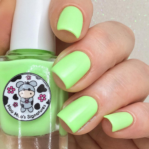AVAILABLE AT GIRLY BITS COSMETICS www.girlybitscosmetics.com Bells of Ireland (Rainbow Flowers Bath Collection) by Moo Moo Signatures | Swatch courtesy of @ladyandthe_stamp