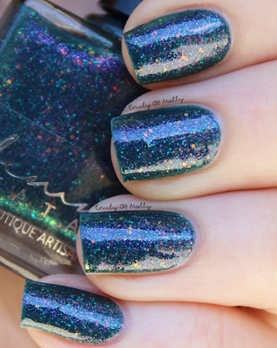 AVAILABLE AT GIRLY BITS COSMETICS www.girlybitscosmetics.com Festive Blithe - December COTM by Femme Fatale | Swatch courtesy of @emilydemolly
