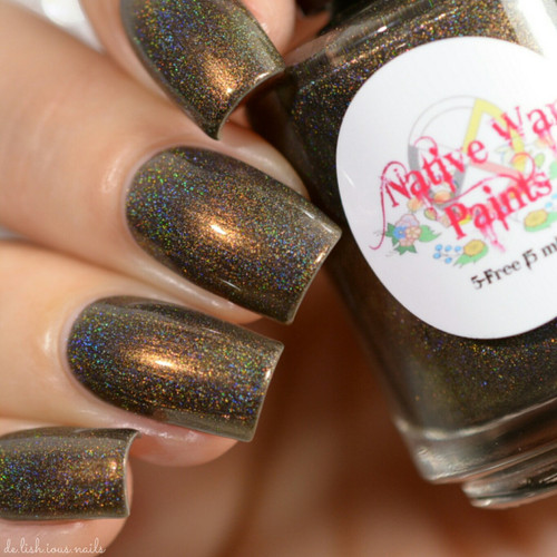 AVAILABLE AT GIRLY BITS COSMETICS www.girlybitscosmetics.com Fire Lake (The Next World Collection) by Native War Paints | Swatch  provided by @del.ish.ious.nails