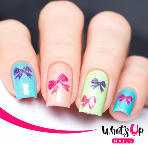 AVAILABLE AT GIRLY BITS COSMETICS www.girlybitscosmetics.com Bow Stencils by Whats Up Nails | Photo credit: IG@solo_nails