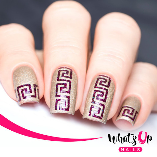 AVAILABLE AT GIRLY BITS COSMETICS www.girlybitscosmetics.com Greek Stencils by Whats Up Nails | Photo credit: IG@solo_nails