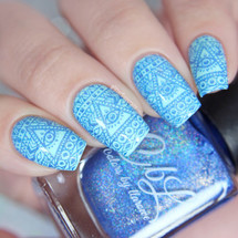 AVAILABLE AT GIRLY BITS COSMETICS www.girlybitscosmetics.com Blue Skies - Stamping Polish by Colors by Llarowe | Swatch courtesy of IG@glitterfingersss