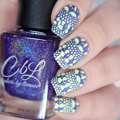 AVAILABLE AT GIRLY BITS COSMETICS www.girlybitscosmetics.com Lilac Petals - Stamping Polish by Colors by Llarowe   Swatch courtesy of IG@glitterfingersss