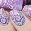 AVAILABLE AT GIRLY BITS COSMETICS www.girlybitscosmetics.com Lilac Petals - Stamping Polish by Colors by Llarowe | Swatch courtesy of IG@glitterfingersss