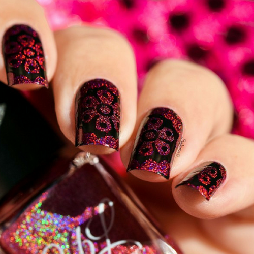 AVAILABLE AT GIRLY BITS COSMETICS www.girlybitscosmetics.com The Heart Bleeds - Stamping Polish by Colors by Llarowe | Swatch courtesy of Sakura Nail Art