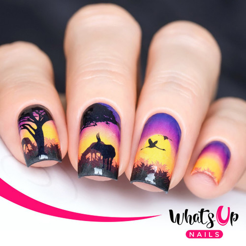 AVAILABLE AT GIRLY BITS COSMETICS www.girlybitscosmetics.com Safari at Sunset Water Decals by Whats Up Nails | Photo credit: IG@solo_nails