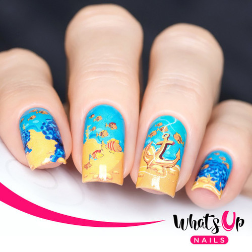 AVAILABLE AT GIRLY BITS COSMETICS www.girlybitscosmetics.com Fishin For Gold Water Decals by Whats Up Nails | Photo credit: IG@solo_nails