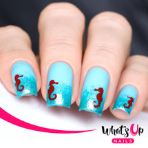 AVAILABLE AT GIRLY BITS COSMETICS www.girlybitscosmetics.com Seahorse Stencils by Whats Up Nails | Photo credit: IG@solo_nails