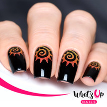 AVAILABLE AT GIRLY BITS COSMETICS www.girlybitscosmetics.com Tribal Sun Stencils by Whats Up Nails | Photo credit: IG@solo_nails