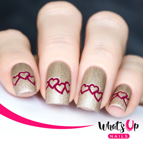 AVAILABLE AT GIRLY BITS COSMETICS www.girlybitscosmetics.com Heart Chain Stencils by Whats Up Nails | Photo credit: IG@solo_nails