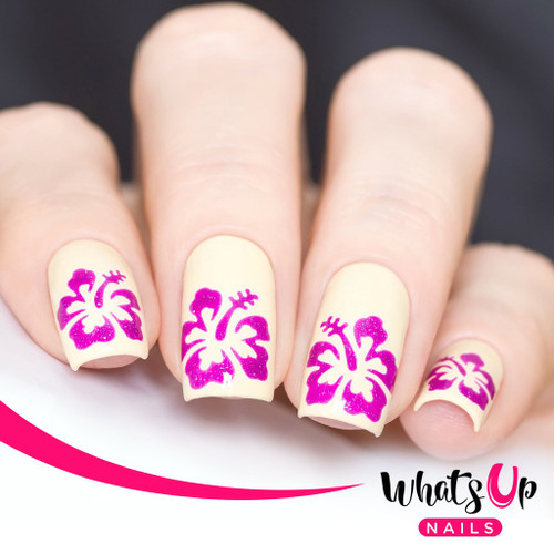 AVAILABLE AT GIRLY BITS COSMETICS www.girlybitscosmetics.com Hibiscus Stencils by Whats Up Nails | Photo credit: IG@solo_nails