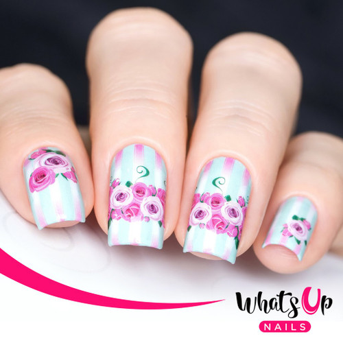 AVAILABLE AT GIRLY BITS COSMETICS www.girlybitscosmetics.com Pink Roses in Bloom Water Decals Water Decals by Whats Up Nails | Photo credit: IG@solo_nails