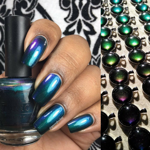 AVAILABLE AT GIRLY BITS COSMETICS www.girlybitscosmetics.com The Places You'll Go - WITH NECKLACE (May Babies Duo Collection) by Tonic Polish | Swatch courtesy of @queenofnails83 (Necklace image by The Holo Pineapple)