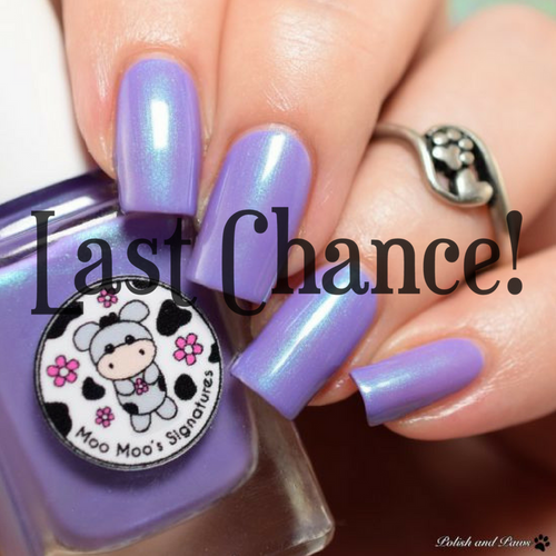 AVAILABLE AT GIRLY BITS COSMETICS www.girlybitscosmetics.com Frozen Lavender (Shimmer Paradise Collection) by Moo Moo's Signatures | Swatch courtesy of Polish and Paws