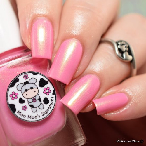 AVAILABLE AT GIRLY BITS COSMETICS www.girlybitscosmetics.com Himalayan Cherry (Shimmer Paradise Collection) by Moo Moo's Signatures | Swatch courtesy of Polish and Paws