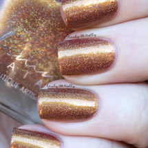 AVAILABLE AT GIRLY BITS COSMETICS www.girlybitscosmetics.com Defiled in Gold (Neon Demon Collection) by Femme Fatale | Swatch courtesy of Emily de Molly