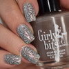 Girly Bits Cosmetics Walnuts About You stamped over Femme Fatale Paper Clouds | Swatch by Manicure Manifesto