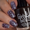 Girly Bits Cosmetics Stump Up The Jam stamped over Femme Fatale Luna Lament | Swatch by Manicure Manifesto