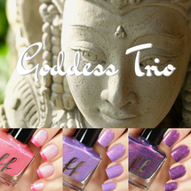 AVAILABLE AT GIRLY BITS COSMETICS www.girlybitscosmetics.com Goddess Trio - Valentine 2018 Collection by Femme Fatale | Swatch courtesy of Tanya Wish