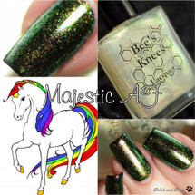 AVAILABLE AT GIRLY BITS COSMETICS www.girlybitscosmetics.com Majestic AF (Rainbow Brite Collection) by Bee's Knees Lacquer | Photo credit: Polish and Paws
