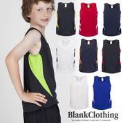 kids quick dry contrast singlet | wholesale