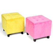 WARHOL   velvet cube stool with legs   chairs & furniture
