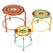 set of 3 coffee culture iron stools   home decor & furniture
