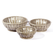 slatted timber bowls   set of 3