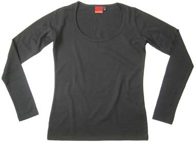 Women's Merino Long Sleeves Scoop Neck Black