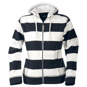 ZU Wome zipper hoodies polar-lined stripe Navy/White