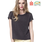 eco friendly | cotton-rich ladies speckled tshirt | black