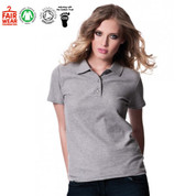 womens organic cotton polo | plain pique | melange grey