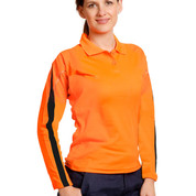 TrueDry hi-vis long sleeve polo with reflective piping | orange+navy