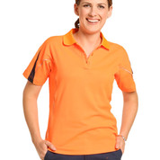 KAZZA | ladies truedry hi-vis short sleeve polo | orange+navy